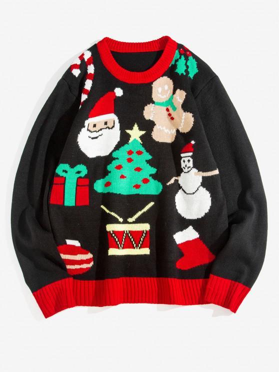 Christmas Tree Santa Claus Pattern Pullover Sweater - أسود L