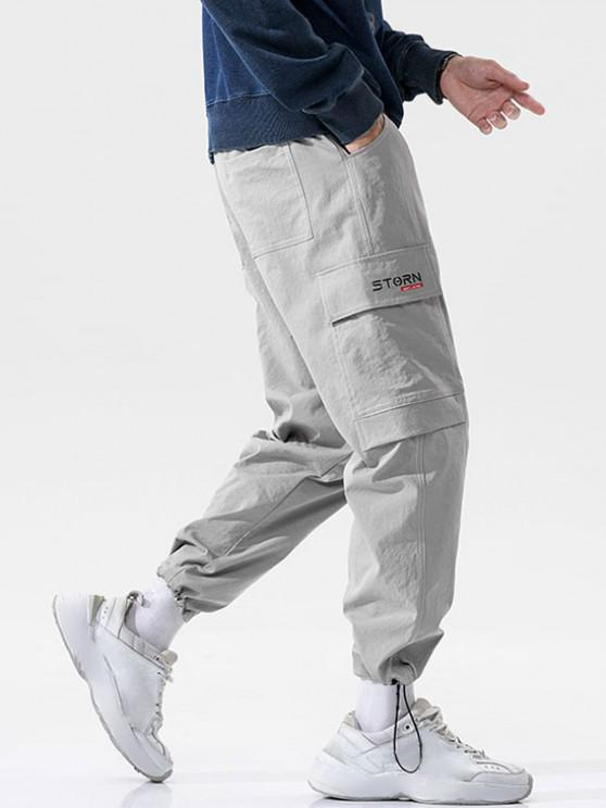 Pantalones de Carga con Estampado de Letras de Bolsillo de Solapa - Gris Claro 2XL