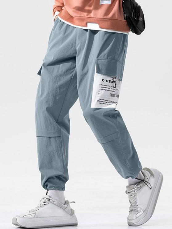 Letter Patchwork Stitching Cargo Pants - أزرق 2XL