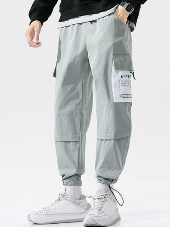 Letter Patchwork Stitching Cargo Pants - رمادي فاتح 4XL