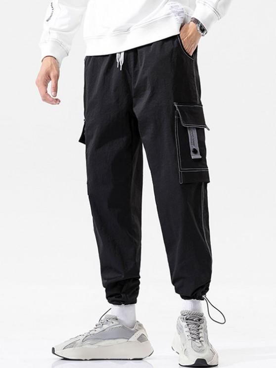 Pantalones de Carga con Estampado de Letras de Bolsillo de Solapa - Negro M