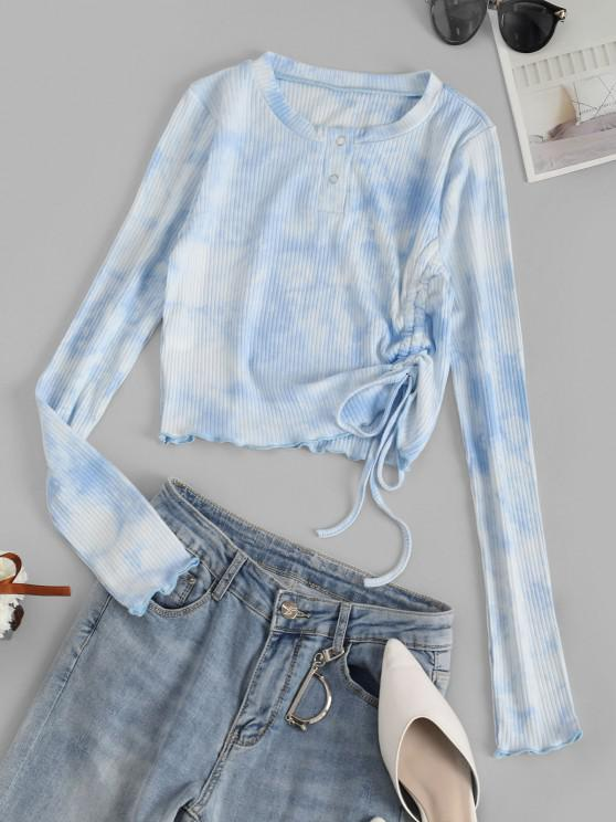 chic Tie Dye Ribbed Lettuce Trim Cinched Henley T-shirt - BABY BLUE M