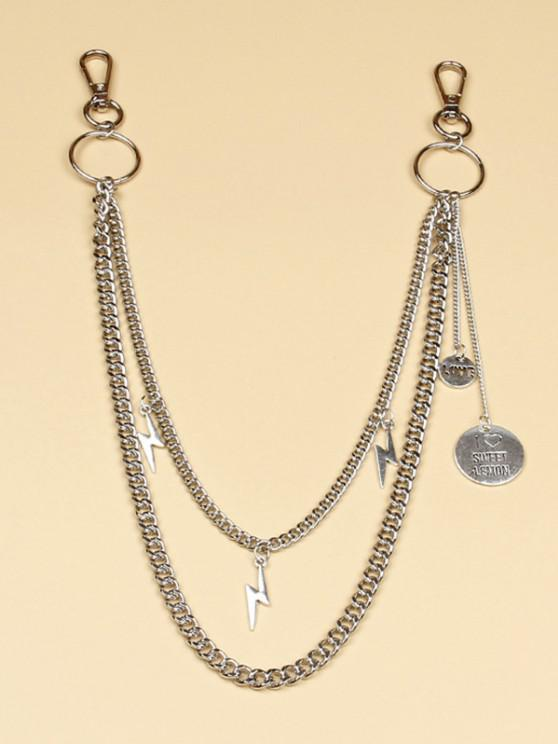 trendy Engraved Pendant Lightning Trousers Chain - SILVER
