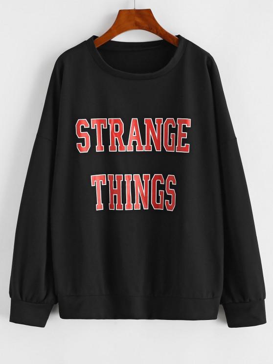 fashion Drop Shoulder Strange Things Print Loose Sweatshirt - BLACK L