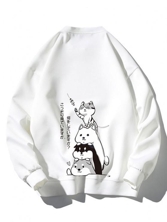 Cartoon Animal Japanese Letter Print Sweatshirt - أبيض 3XL