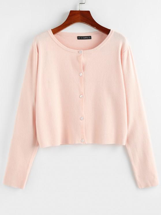 ZAFUL Button Up Plain Jersey Cardigan - وردي فاتح L