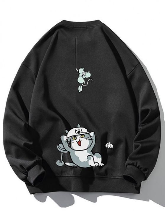 Moletom suéter com padrão de gato - Preto XL