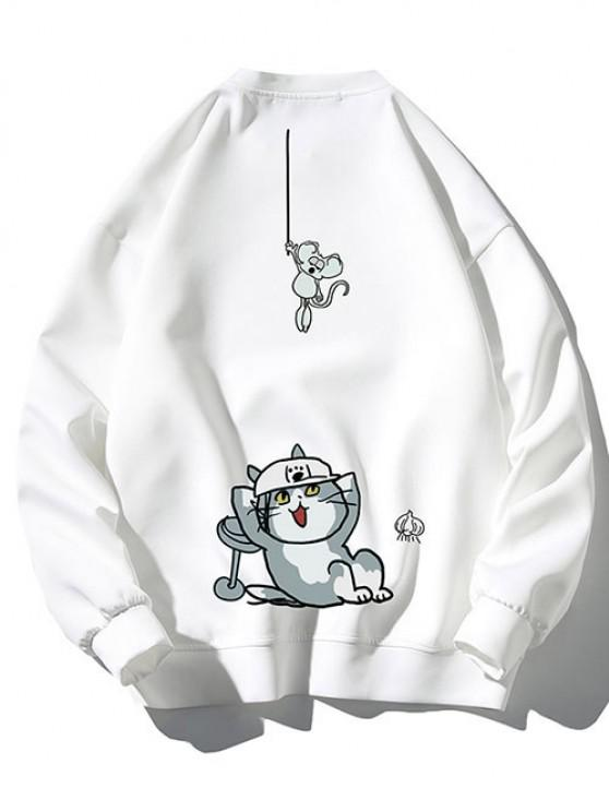 Funny Mouse And Cat Pattern Sweatshirt - أبيض M