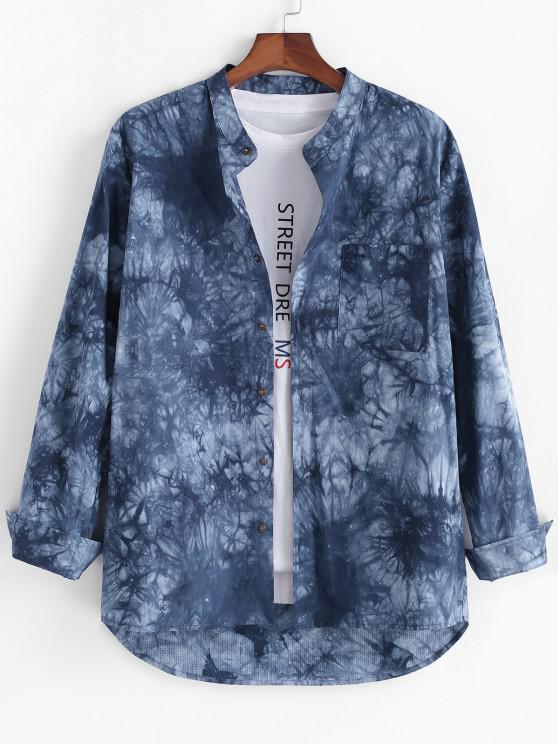 fancy Tie Dye Print High Low Pocket Long Sleeve Shirt - BLUE M
