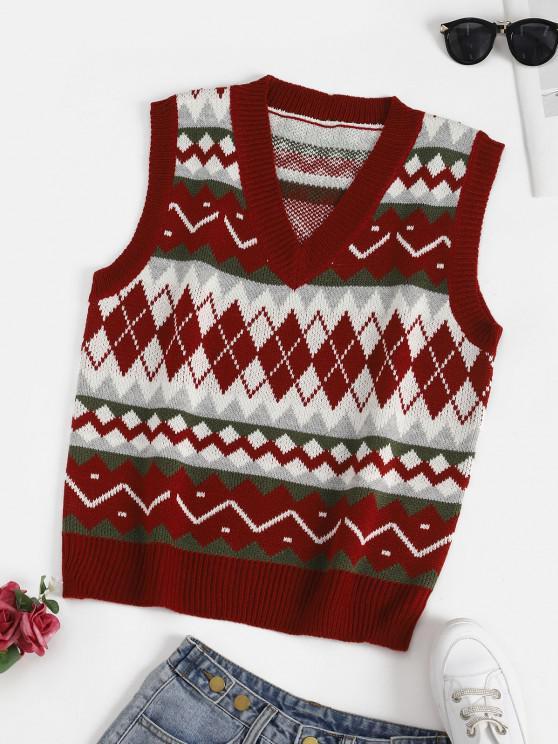 Camisola suéter gola V com marcas geométrico - Vinho Tinto Um Tamanho