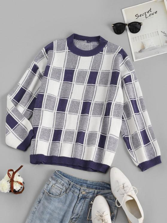 ladies Grid Drop Shoulder Loose Sweater - MULTI-A ONE SIZE