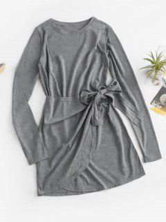 Overlap Knot Long Sleeve Tee Dress - Gray M