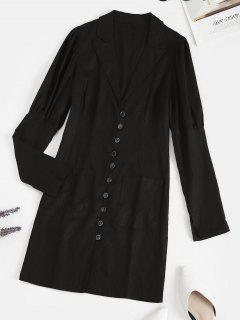 Lapel Button Loop Pockets Mini Dress - Black S