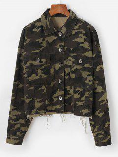 Veste Cargo Camouflage Boutonnée à Ourlet Effrangé - Vert Profond S