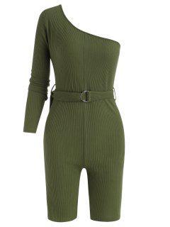 Belted One Shoulder Ribbed Unitard Romper - Deep Green L