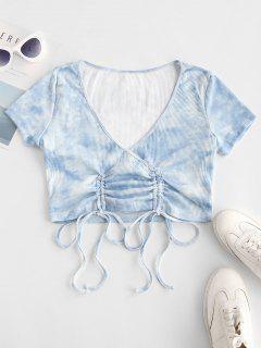 T-shirt Superposé Teinté Côtelé Avec Lacets - Bleu Clair M