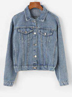 Button Up Sequins Embroidered Denim Jacket - Light Blue Xl