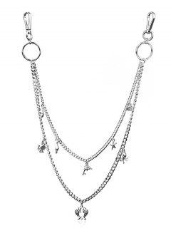 Starfish Shell Charm Layered Trousers Chain - Silver
