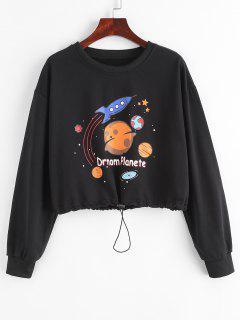 Toggle Drawstring Planet Star Graphic Sweatshirt - Black L