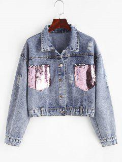 Ripped Sequined Pockets Cropped Denim Jacket - Blue L