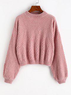 Drop Shoulder Lantern Sleeve Chenille Sweater - Light Pink