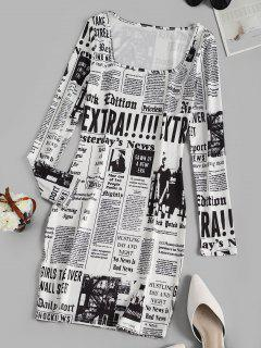 Long Sleeve Newspaper Print Milkmaid Dress - White S