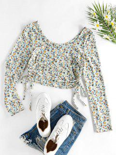 ZAFUL Ditsy Print Cinched Cropped T Shirt - Light Blue M