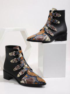 Multi-color Snake Print Pointed Toe Ankle Boots - Multi-a Eu 39