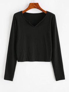 Camiseta Acanalada Con Cuello En V - Negro L