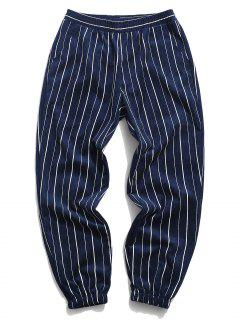 Striped Pattern Corduroy Beam Feet Pants - Deep Blue 3xl