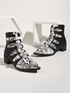 Snake Print Buckle Strap Chunky Heel Ankle Boots - Multi-a Eu 41