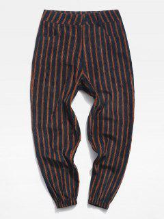 Striped Pattern Zip Fly Beam Feet Pants - Black Xl
