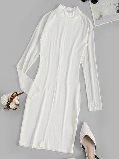 Long Sleeve Ribbed Mesh Sleeve Bodycon Dress - White M