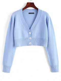 Rib-knit Trim Button Up Crop Cardigan - Baby Blue
