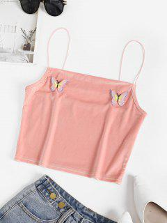 Bungee Velvet Butterfly Applique Cami Top - Pink L