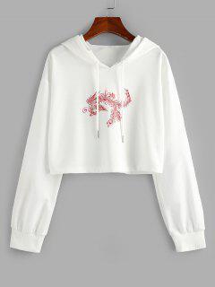 ZAFUL Chinoiserie Phoenix Print Cropped Hoodie - White S