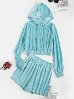 Drawstring Velvet Lounge Two Piece Set - Light Blue M