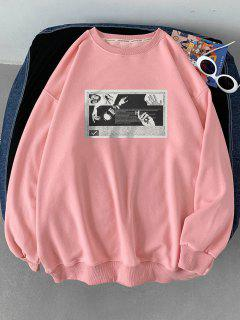 Rippen Strick Trim Graphik Druck Sweatshirt - Rosa L