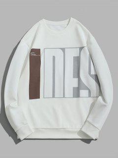 Sweat-shirt Motif De Lettre à Col Rond - Blanc L