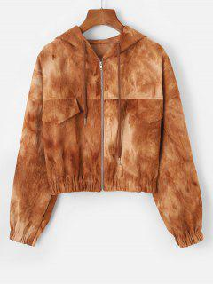 Tie Dye Flap Detail Corduroy Jacket - Coffee L