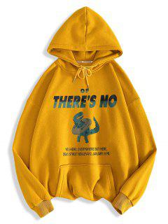 There's No Letter Cartoon Dinosaur Pattern Hoodie - Golden Brown M