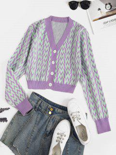 V Neck Button Up Dazzling Graphic Cardigan - Purple