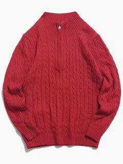 Half Zipper Cable Knit Sweater - Red S