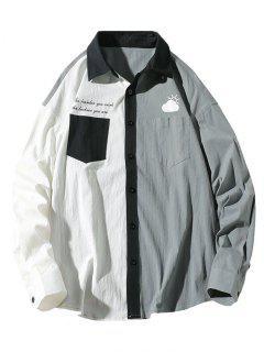 Slogan Print Colorblock Panel Pocket Patch Shirt - Light Gray L