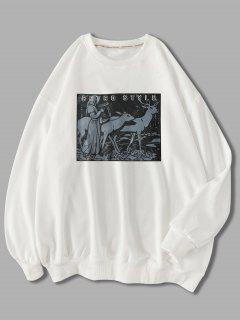 Sweat-shirtAnimalImpriméStyle Rétro - Blanc 2xl