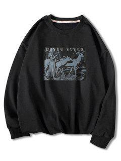 Sweat-shirtAnimalImpriméStyle Rétro - Noir 2xl