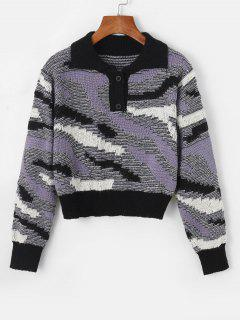 Button Front Heathered Pullover Sweater - Purple