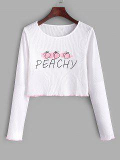 Ribbed Lettuce Peachy Graphic Tee - White S