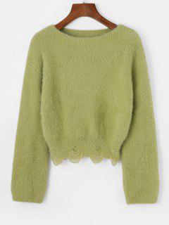 Slash Neck Fuzzy Distressed Sweater - Green