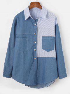 Gestreiftes Panel Vorder Tasche Chambray Hemd - Denim Blau S